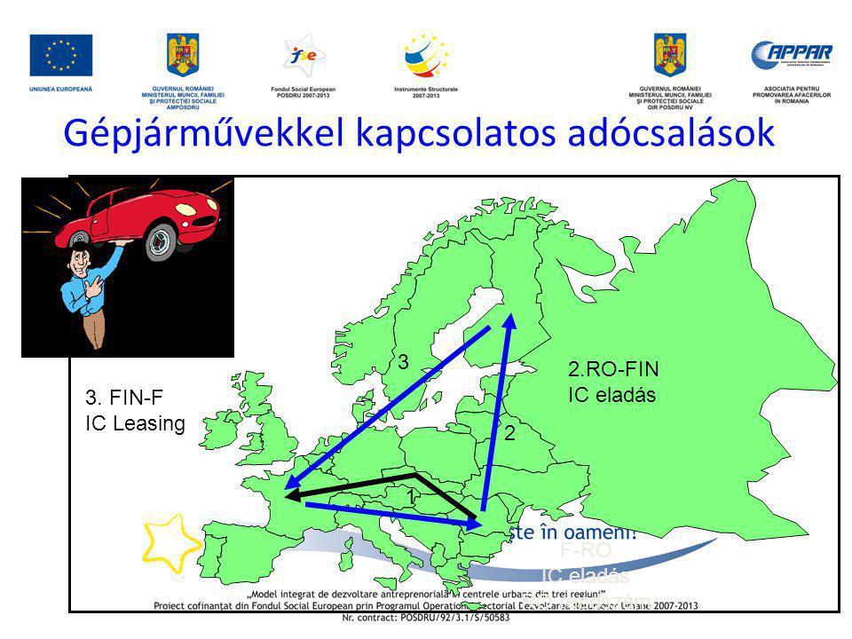 Gépjárművekkel kapcsolatos adócsalások F-RO IC eladás RO rendszám 2.RO-FIN IC eladás 3. FIN-F IC Leasing 1 2 3