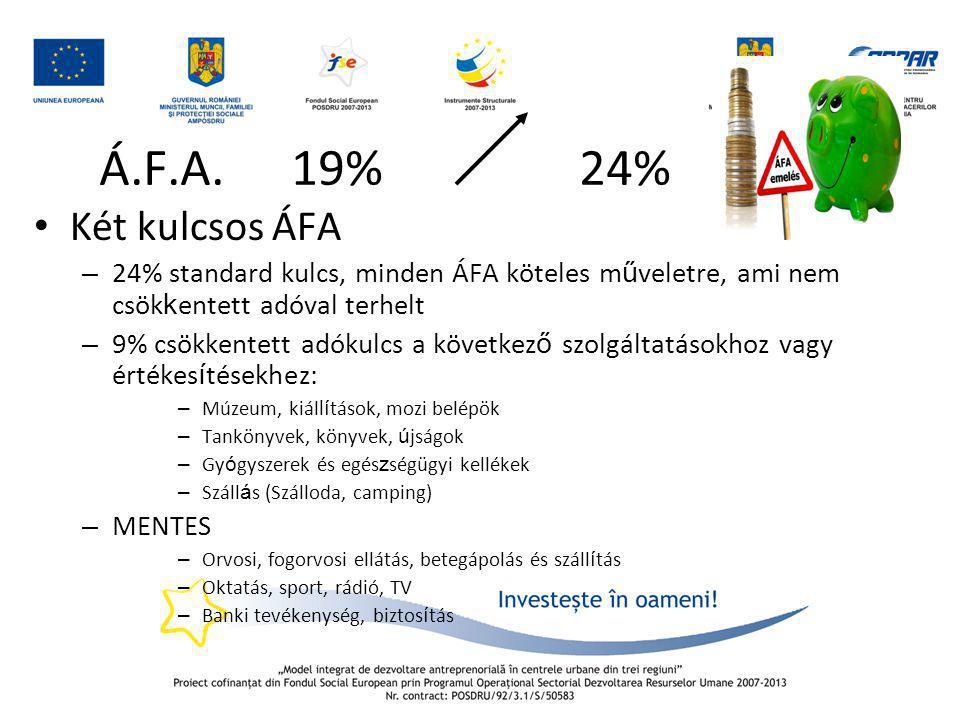 Á.F.A. 19% 24% • Két kulcsos ÁFA – 24% standard kulcs, minden ÁFA köteles m ű veletre, ami nem csök k entett adóval terhelt – 9% csökkentett adókulcs