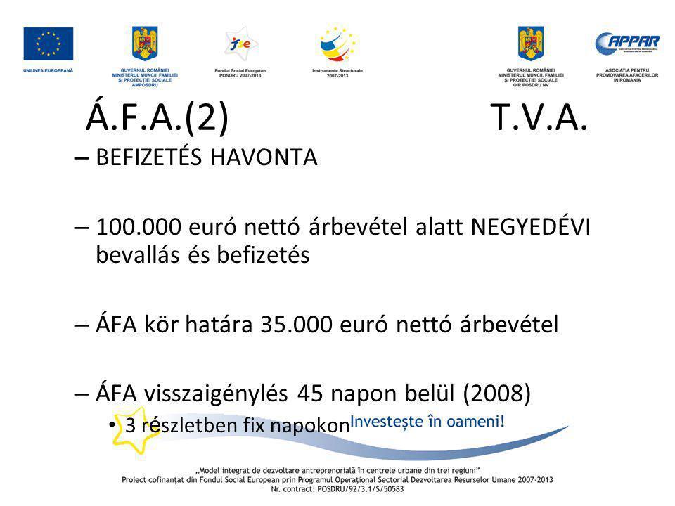 Á.F.A.(2) T.V.A. – BEFIZETÉS HAVONTA – 100.000 euró nettó árbevétel alatt NEGYEDÉVI bevallás és befizetés – ÁFA kör határa 35.000 euró nettó árbevétel