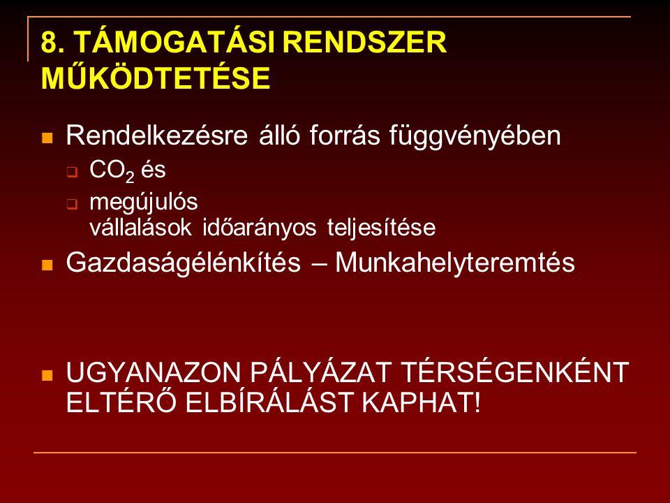 8. TÁMOGATÁSI RENDSZER MŰKÖDTETÉSE  Rendelkezésre álló forrás függvényében  CO 2 és  megújulós vállalások időarányos teljesítése  Gazdaságélénkíté