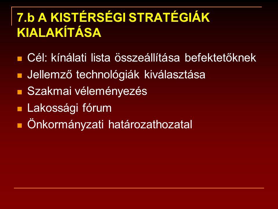 7.b A KISTÉRSÉGI STRATÉGIÁK KIALAKÍTÁSA  Cél: kínálati lista összeállítása befektetőknek  Jellemző technológiák kiválasztása  Szakmai véleményezés  Lakossági fórum  Önkormányzati határozathozatal