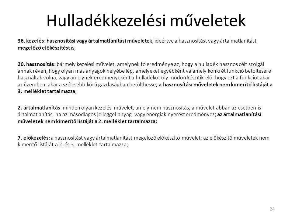 Hulladékkezelési műveletek 36. kezelés: hasznosítási vagy ártalmatlanítási műveletek, ideértve a hasznosítást vagy ártalmatlanítást megelőző előkészít