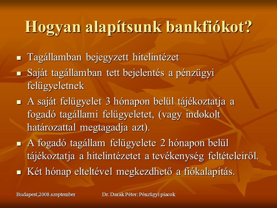 Budapest,2008.szeptemberDr. Darák Péter: Pénzügyi piacok Hogyan alapítsunk bankfiókot?  Tagállamban bejegyzett hitelintézet  Saját tagállamban tett