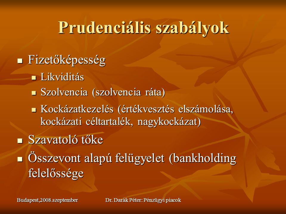 Budapest,2008.szeptemberDr. Darák Péter: Pénzügyi piacok Prudenciális szabályok  Fizetőképesség  Likviditás  Szolvencia (szolvencia ráta)  Kockáz
