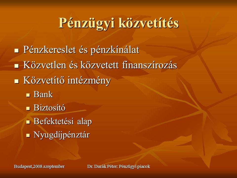 Budapest,2008.szeptemberDr. Darák Péter: Pénzügyi piacok Pénzügyi közvetítés  Pénzkereslet és pénzkínálat  Közvetlen és közvetett finanszírozás  Kö