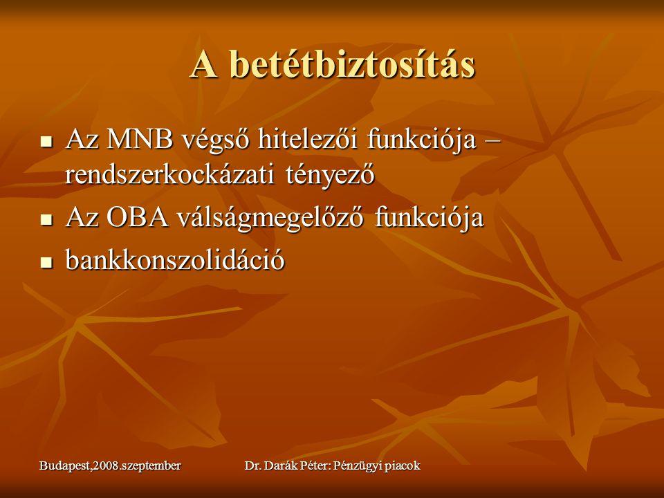 Budapest,2008.szeptemberDr. Darák Péter: Pénzügyi piacok A betétbiztosítás  Az MNB végső hitelezői funkciója – rendszerkockázati tényező  Az OBA vál