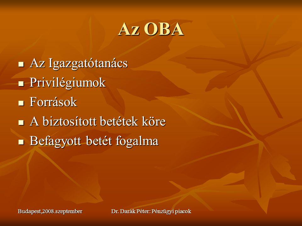 Budapest,2008.szeptemberDr. Darák Péter: Pénzügyi piacok Az OBA  Az Igazgatótanács  Privilégiumok  Források  A biztosított betétek köre  Befagyot