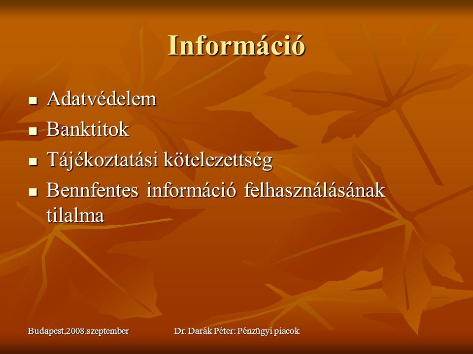 Budapest,2008.szeptemberDr. Darák Péter: Pénzügyi piacok Információ  Adatvédelem  Banktitok  Tájékoztatási kötelezettség  Bennfentes információ fe