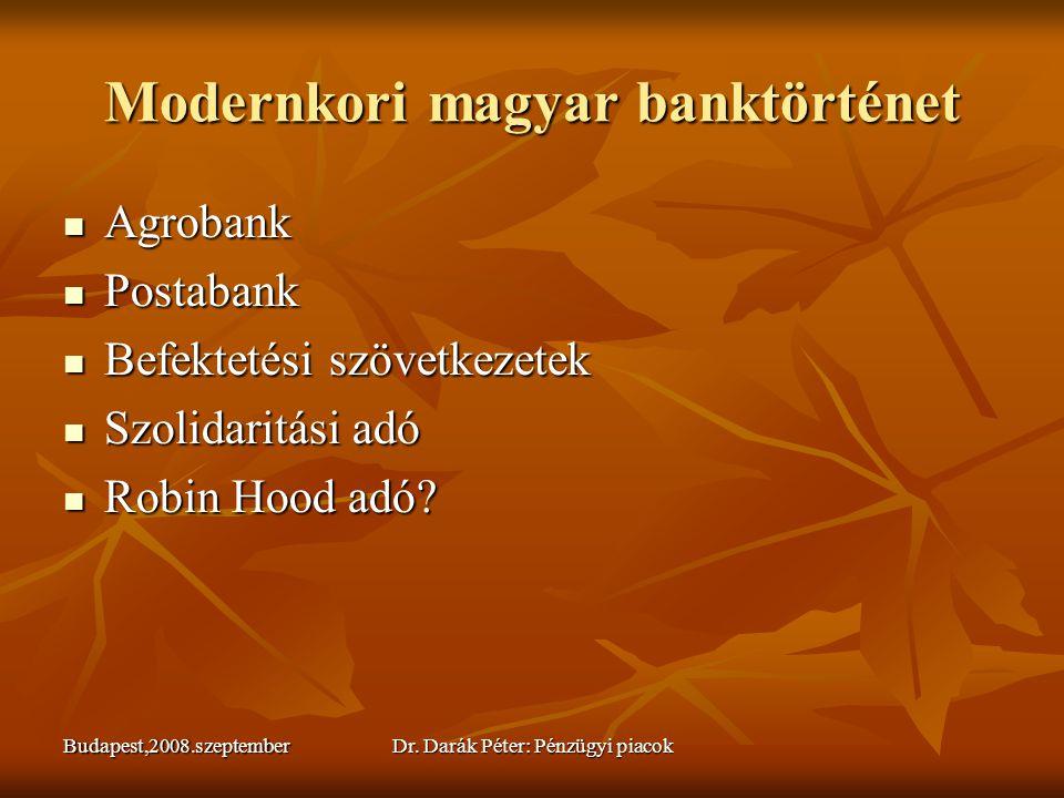Budapest,2008.szeptemberDr. Darák Péter: Pénzügyi piacok Modernkori magyar banktörténet  Agrobank  Postabank  Befektetési szövetkezetek  Szolidari