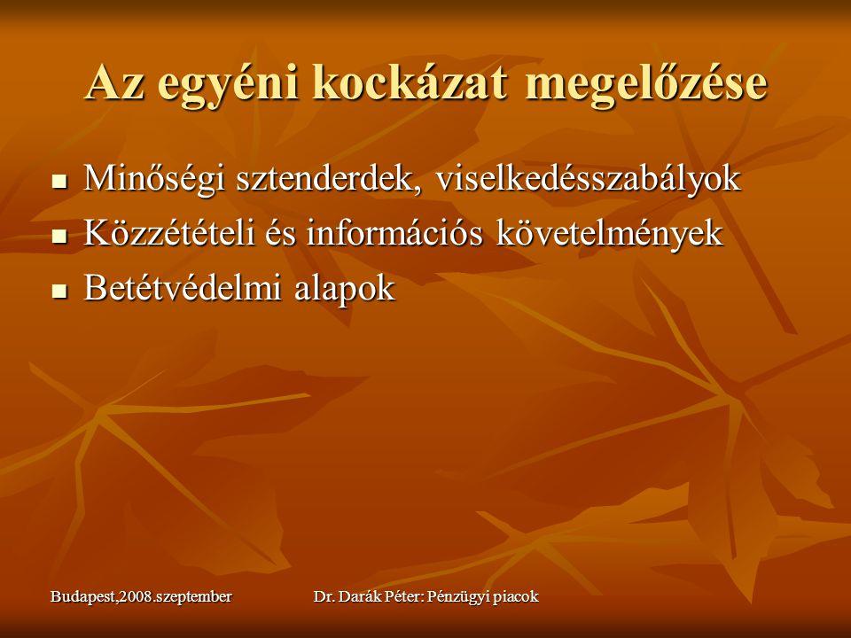 Budapest,2008.szeptemberDr. Darák Péter: Pénzügyi piacok Az egyéni kockázat megelőzése  Minőségi sztenderdek, viselkedésszabályok  Közzétételi és in