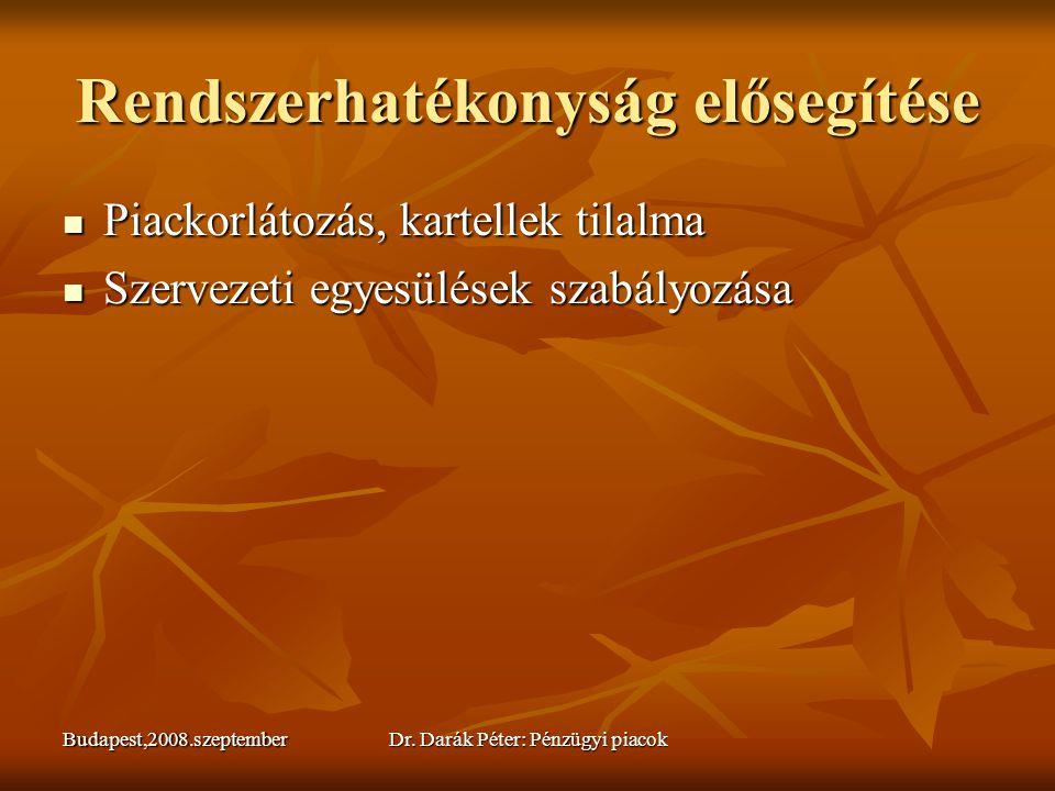 Budapest,2008.szeptemberDr. Darák Péter: Pénzügyi piacok Rendszerhatékonyság elősegítése  Piackorlátozás, kartellek tilalma  Szervezeti egyesülések