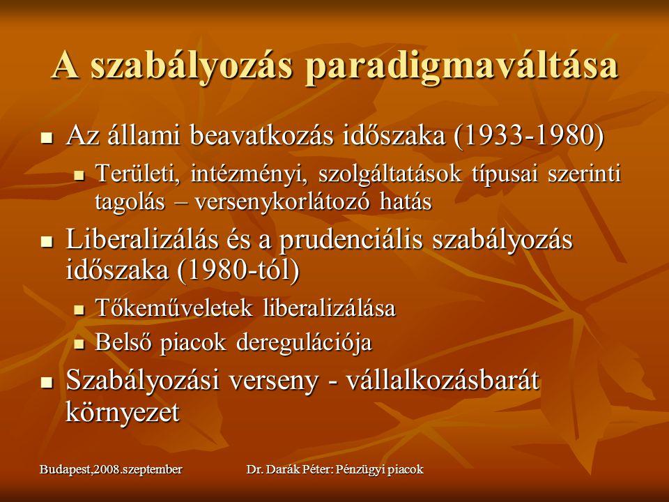 Budapest,2008.szeptemberDr. Darák Péter: Pénzügyi piacok A szabályozás paradigmaváltása  Az állami beavatkozás időszaka (1933-1980)  Területi, inté