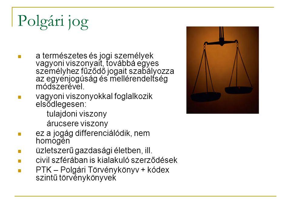 Polgári jog  a természetes és jogi személyek vagyoni viszonyait, továbbá egyes személyhez fűződő jogait szabályozza az egyenjogúság és mellérendeltség módszerével.