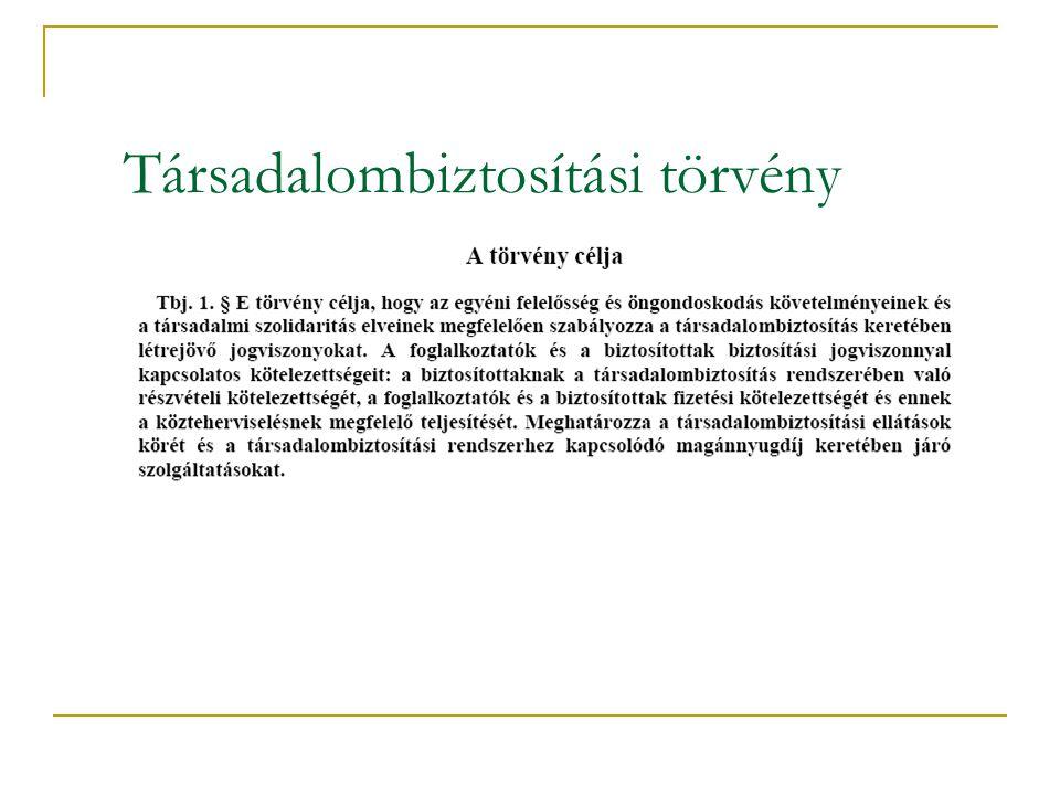 A társadalombiztosítási rendszer szerkezeti felépítése  Európai modell:  Magyar modell: TB Egészség biztosítás Baleset biztosítás Nyugdíj biztosítás TB Egészség biztosítás Nyugdíj biztosítás Magán nyugdíj