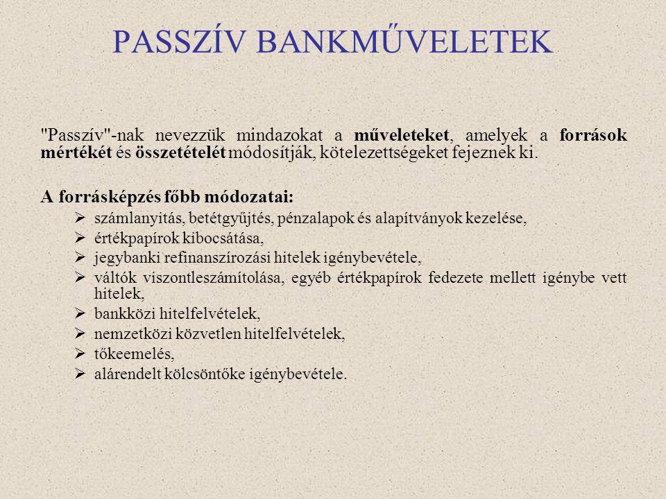 Bankműveletek •Passzív bankműveletek – forrásgyűjtés (kamatkiadás) •Aktív bankműveletek – kihelyezések (kamatbevétel) •Semleges bankműveletek – banki/