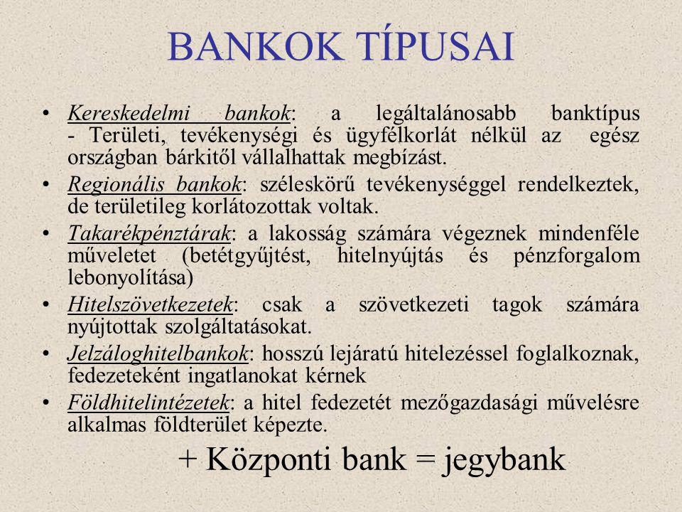 BANKRENDSZEREK •Specializált vagy kettéosztott bankrendszer: - bankok egyik csoportja csak lakossági ügyletekkel, rövid távú finanszírozással foglalko