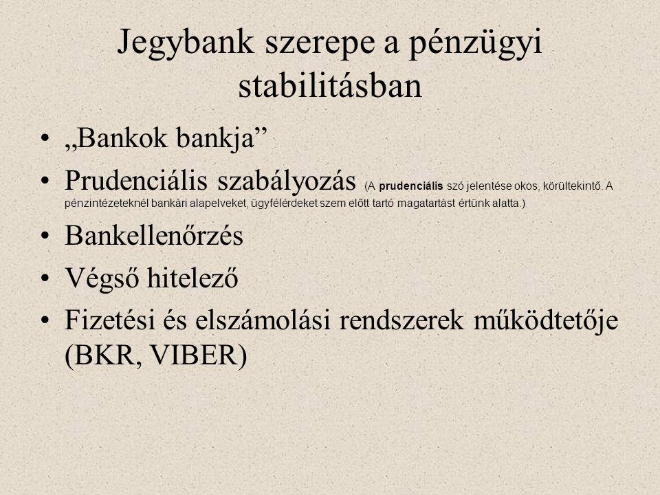 MNB a pénzügyi rendszerben Alkotmány: •Az MNB feladata a törvényes fizetőeszköz kibocsátása, a nemzeti fizetőeszköz értékállóságának védelme, valamint