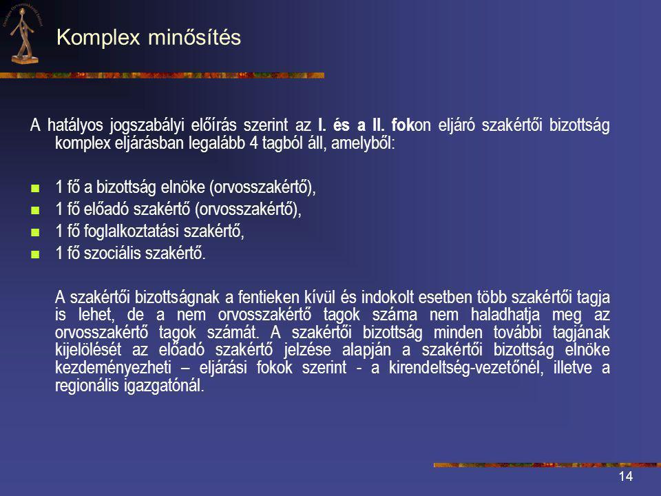 14 Komplex minősítés A hatályos jogszabályi előírás szerint az I.