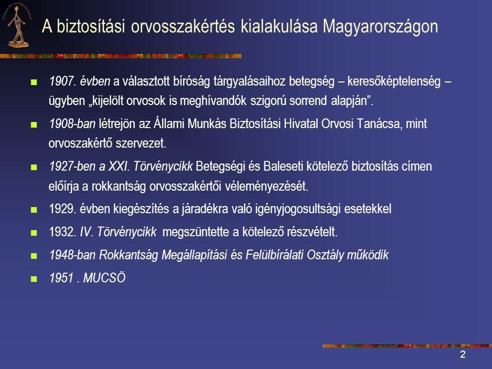 2 A biztosítási orvosszakértés kialakulása Magyarországon  1907.
