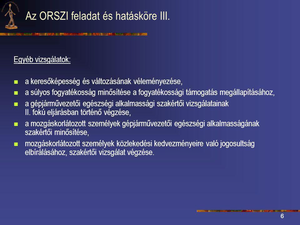6 Az ORSZI feladat és hatásköre III.