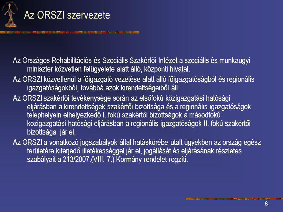 8 Az ORSZI szervezete Az Országos Rehabilitációs és Szociális Szakértői Intézet a szociális és munkaügyi miniszter közvetlen felügyelete alatt álló, központi hivatal.