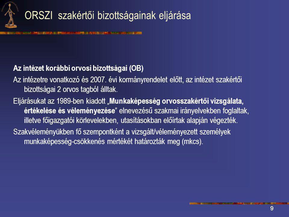 9 ORSZI szakértői bizottságainak eljárása Az intézet korábbi orvosi bizottságai (OB) Az intézetre vonatkozó és 2007.