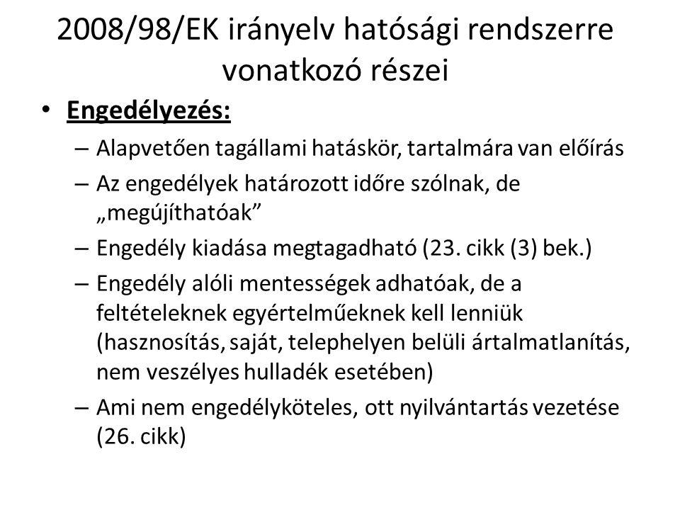 2008/98/EK irányelv hatósági rendszerre vonatkozó részei • Engedélyezés: – Alapvetően tagállami hatáskör, tartalmára van előírás – Az engedélyek határ