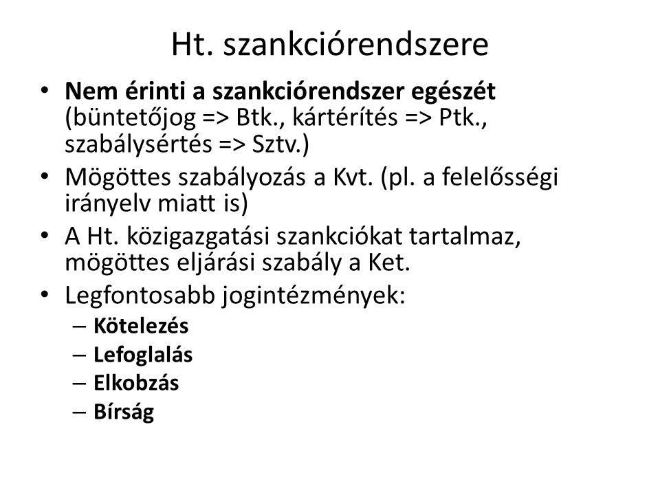 Ht. szankciórendszere • Nem érinti a szankciórendszer egészét (büntetőjog => Btk., kártérítés => Ptk., szabálysértés => Sztv.) • Mögöttes szabályozás