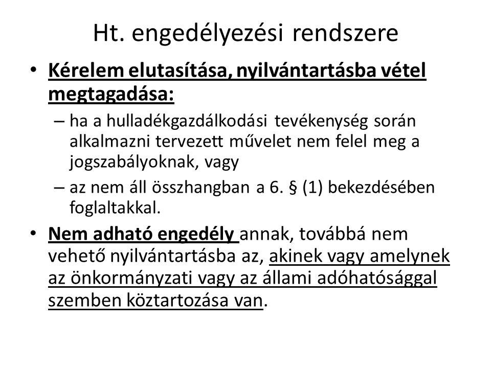 Ht. engedélyezési rendszere • Kérelem elutasítása, nyilvántartásba vétel megtagadása: – ha a hulladékgazdálkodási tevékenység során alkalmazni terveze
