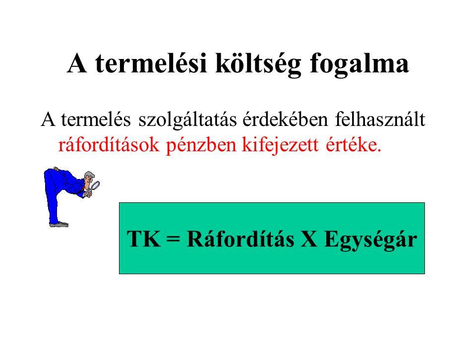 A ráfordítás fogalma, típusai •A termelés érdekében felhasznált erőforrások naturális mértékegység-gel kifejezett mennyisége. –Munkaerő, élőmunka –Ter