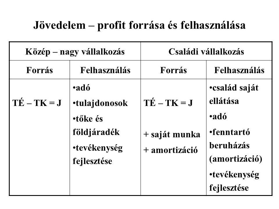 A nagyvállalkozás és a családi vállalkozás jövedelmének forrása, felhasználása •TÉ-TK= J –Adó, a tulajdonosok tőke és földjáradéka, a tevékenység fejl