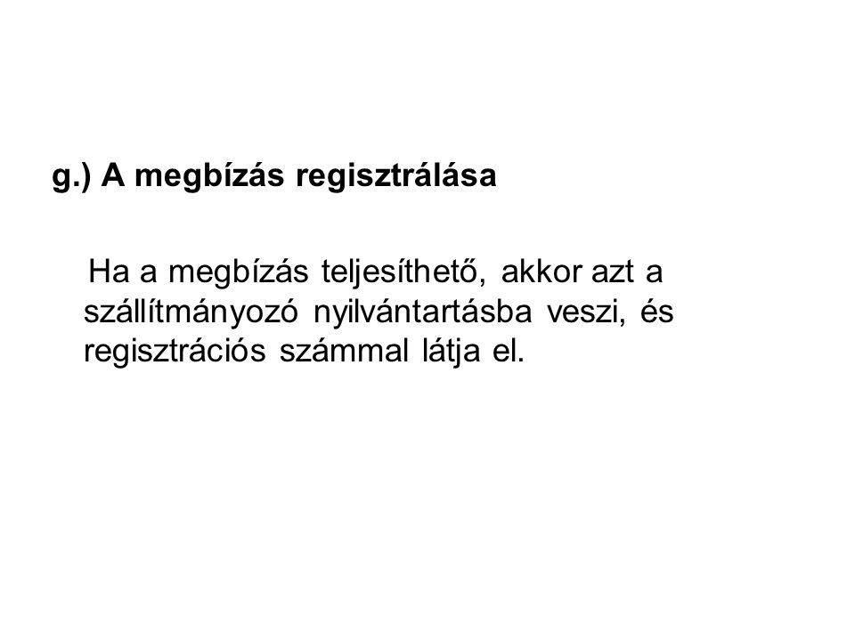 g.) A megbízás regisztrálása Ha a megbízás teljesíthető, akkor azt a szállítmányozó nyilvántartásba veszi, és regisztrációs számmal látja el.