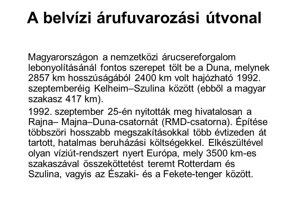 A belvízi árufuvarozási útvonal Magyarországon a nemzetközi árucsereforgalom lebonyolításánál fontos szerepet tölt be a Duna, melynek 2857 km hosszúsá