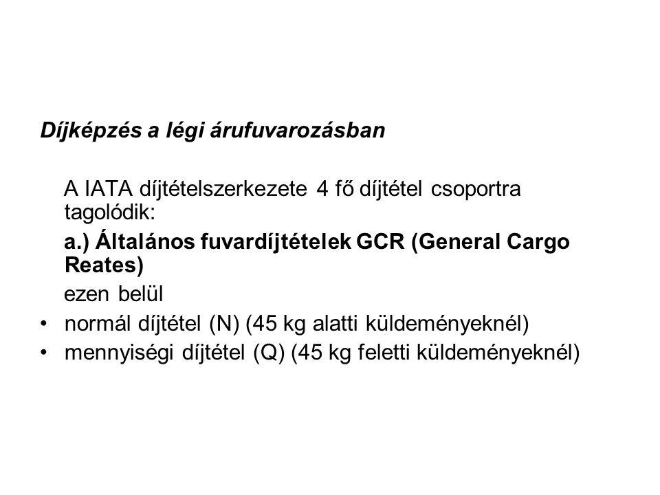 Díjképzés a légi árufuvarozásban A IATA díjtételszerkezete 4 fő díjtétel csoportra tagolódik: a.) Általános fuvardíjtételek GCR (General Cargo Reates)
