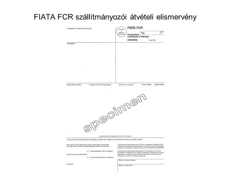 FIATA FCR szállítmányozói átvételi elismervény