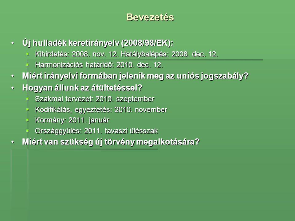 Bevezetés •Új hulladék keretirányelv (2008/98/EK):  Kihirdetés: 2008. nov. 12. Hatálybalépés: 2008. dec. 12.  Harmonizációs határidő: 2010. dec. 12.