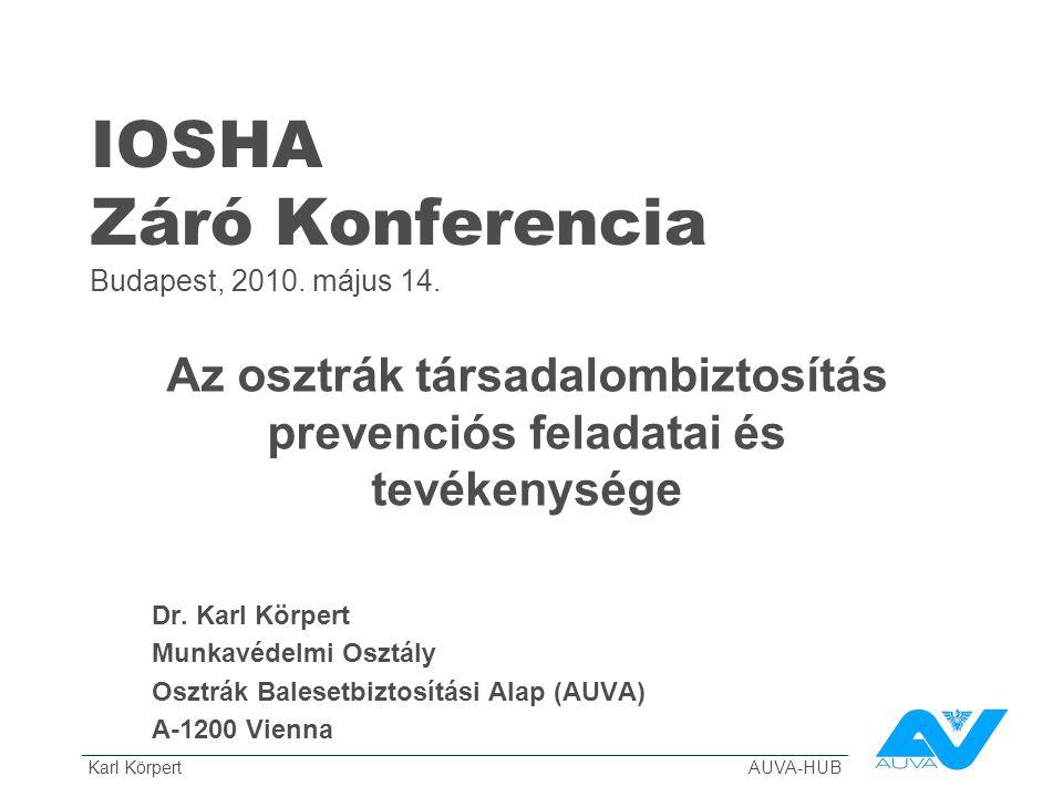 ______________________________________________________________________________ Karl Körpert AUVA-HUB IOSHA Záró Konferencia Budapest, 2010. május 14.