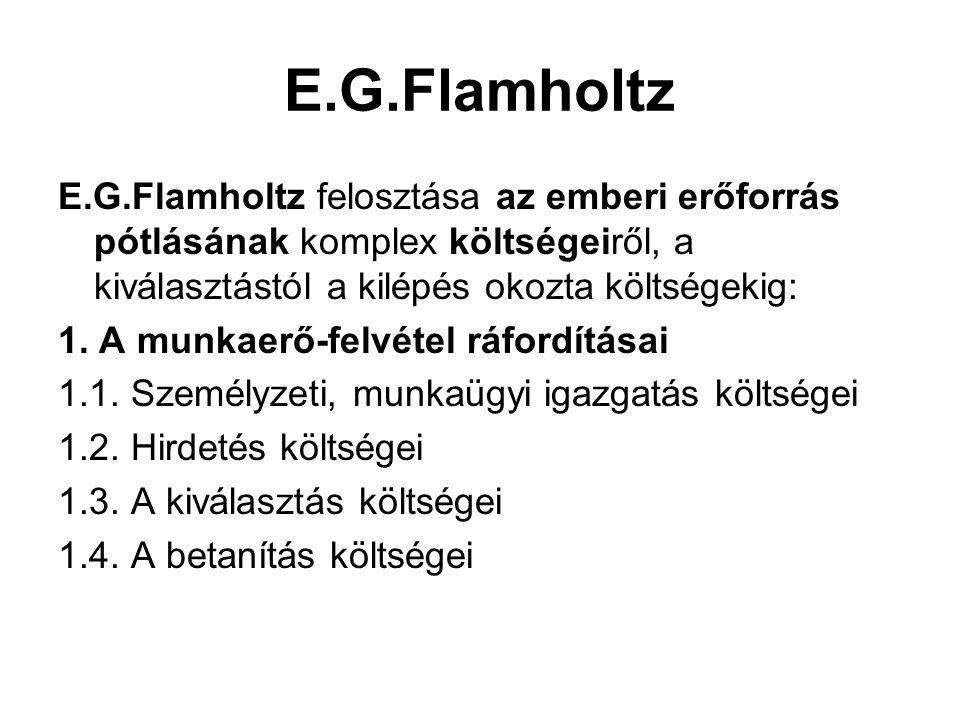 E.G.Flamholtz E.G.Flamholtz felosztása az emberi erőforrás pótlásának komplex költségeiről, a kiválasztástól a kilépés okozta költségekig: 1. A munkae
