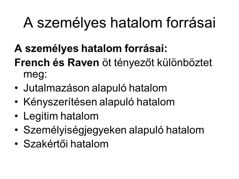 A személyes hatalom forrásai A személyes hatalom forrásai: French és Raven öt tényezőt különböztet meg: •Jutalmazáson alapuló hatalom •Kényszerítésen