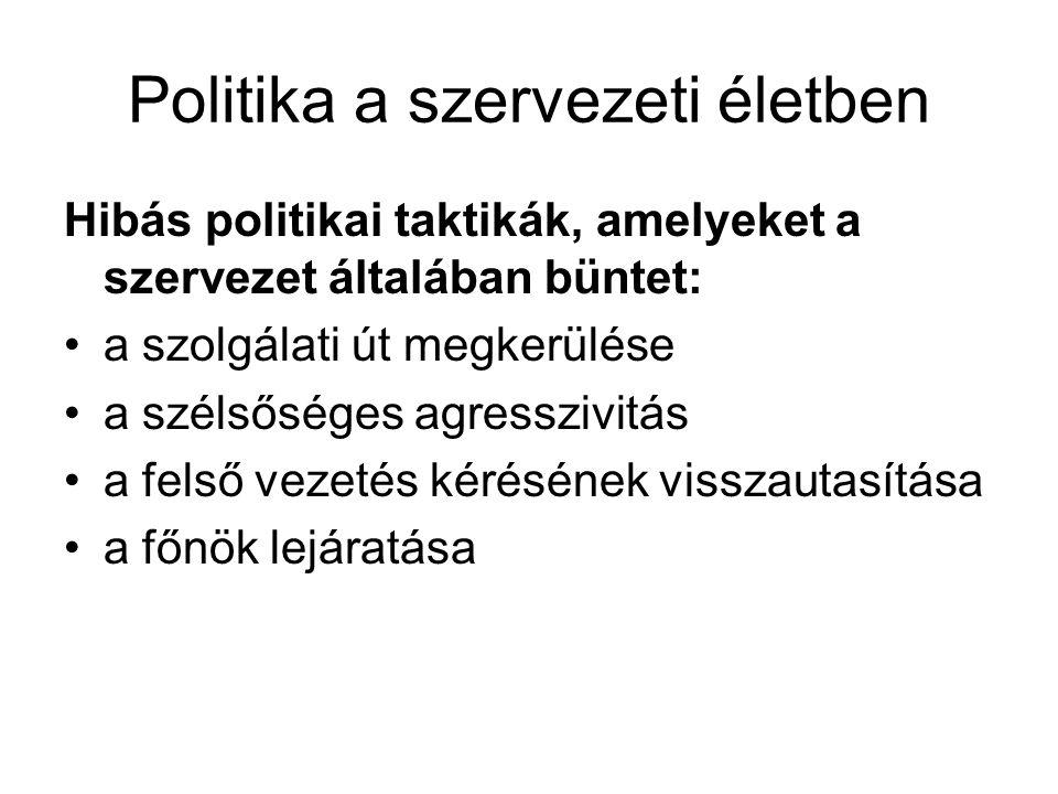 Politika a szervezeti életben Hibás politikai taktikák, amelyeket a szervezet általában büntet: •a szolgálati út megkerülése •a szélsőséges agresszivi