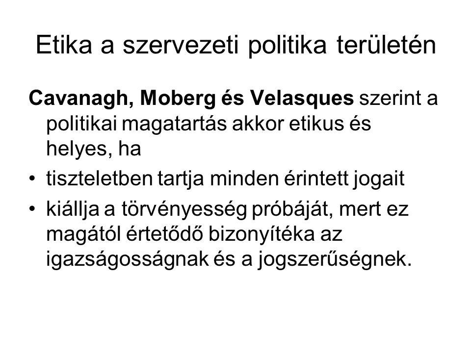 Etika a szervezeti politika területén Cavanagh, Moberg és Velasques szerint a politikai magatartás akkor etikus és helyes, ha •tiszteletben tartja min