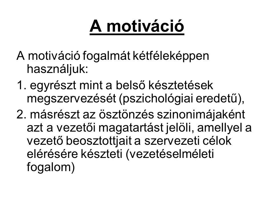 A motiváció A motiváció fogalmát kétféleképpen használjuk: 1. egyrészt mint a belső késztetések megszervezését (pszichológiai eredetű), 2. másrészt az