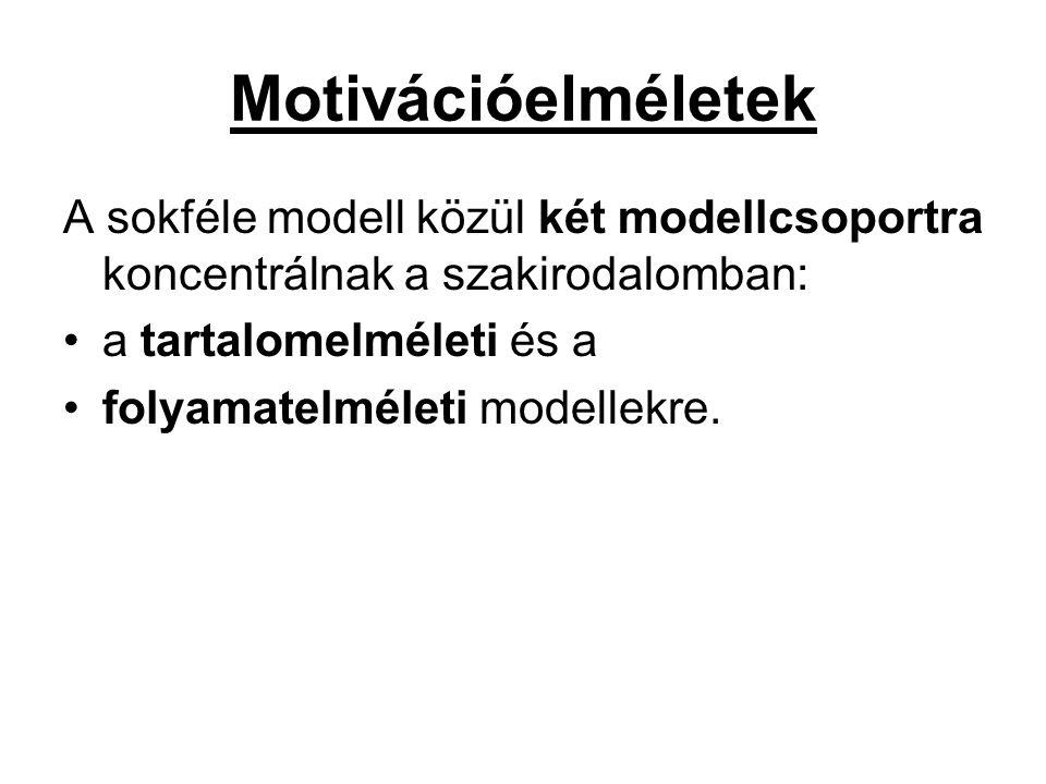 Motivációelméletek A sokféle modell közül két modellcsoportra koncentrálnak a szakirodalomban: •a tartalomelméleti és a •folyamatelméleti modellekre.