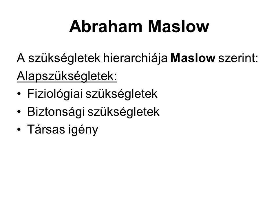 Abraham Maslow A szükségletek hierarchiája Maslow szerint: Alapszükségletek: •Fiziológiai szükségletek •Biztonsági szükségletek •Társas igény