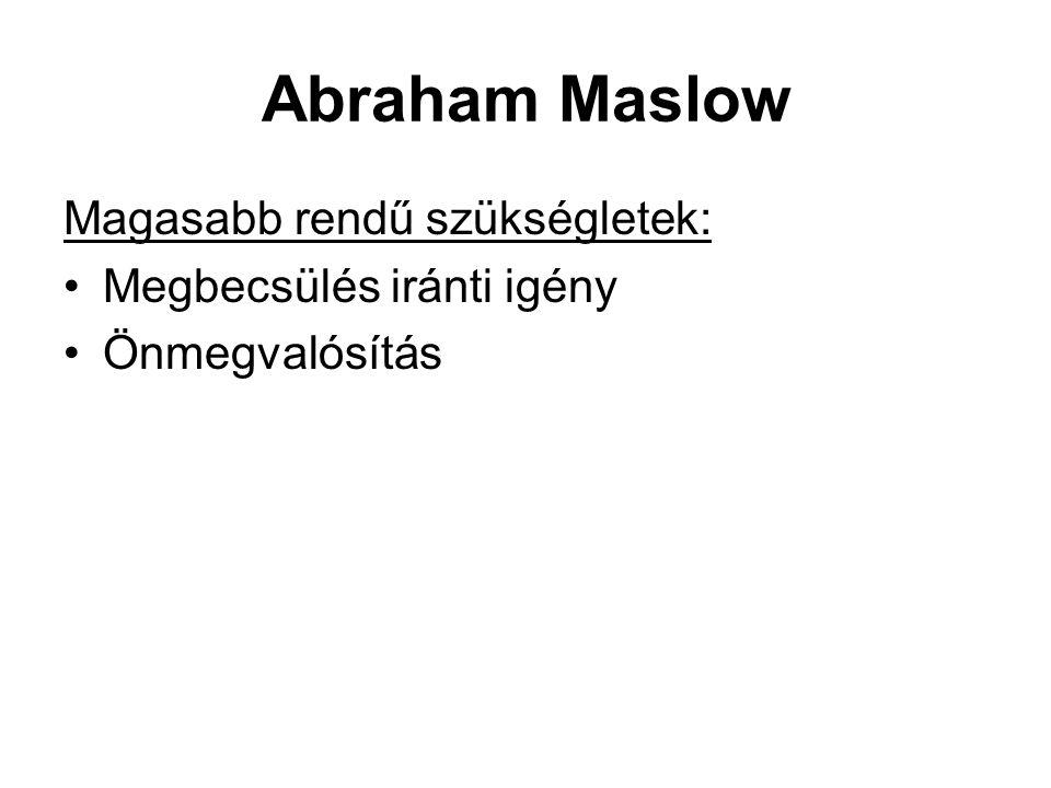 Abraham Maslow Magasabb rendű szükségletek: •Megbecsülés iránti igény •Önmegvalósítás