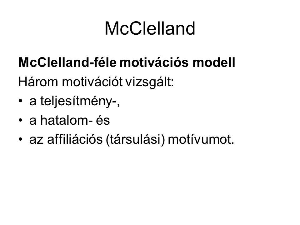 McClelland McClelland-féle motivációs modell Három motivációt vizsgált: •a teljesítmény-, •a hatalom- és •az affiliációs (társulási) motívumot.