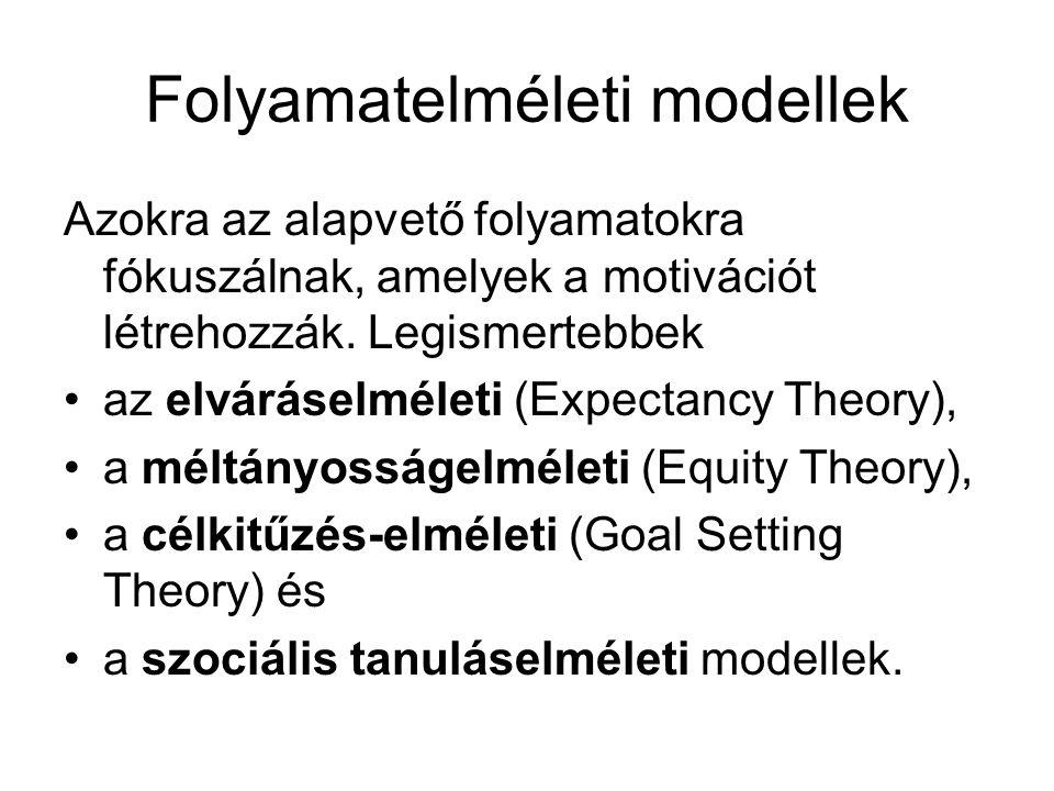 Folyamatelméleti modellek Azokra az alapvető folyamatokra fókuszálnak, amelyek a motivációt létrehozzák. Legismertebbek •az elváráselméleti (Expectanc