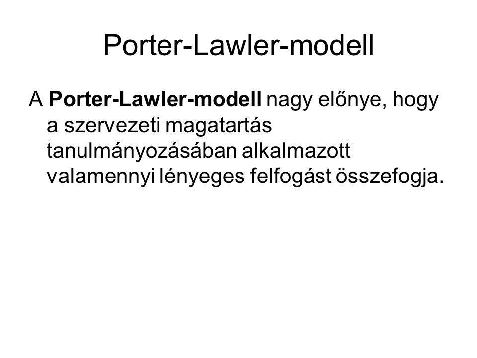 Porter-Lawler-modell A Porter-Lawler-modell nagy előnye, hogy a szervezeti magatartás tanulmányozásában alkalmazott valamennyi lényeges felfogást össz