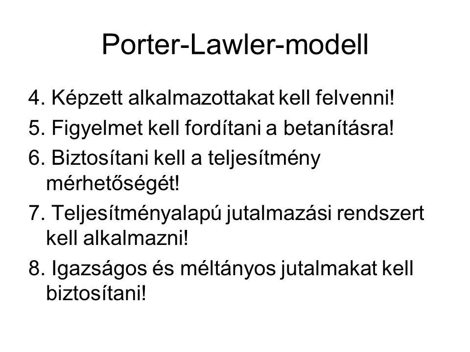 Porter-Lawler-modell 4. Képzett alkalmazottakat kell felvenni! 5. Figyelmet kell fordítani a betanításra! 6. Biztosítani kell a teljesítmény mérhetősé