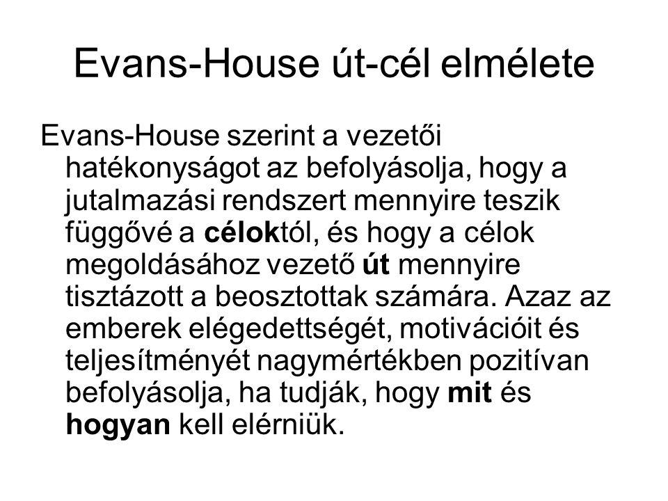 Evans-House út-cél elmélete Evans-House szerint a vezetői hatékonyságot az befolyásolja, hogy a jutalmazási rendszert mennyire teszik függővé a célokt